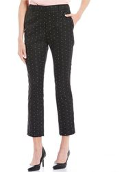 Donna Karan New York Polka Dot Print Pants - Black