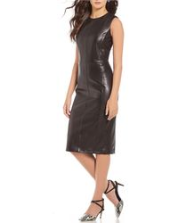Antonio Melani - Luxury Collection Tatiana Genuine Leather Midi Dress - Lyst