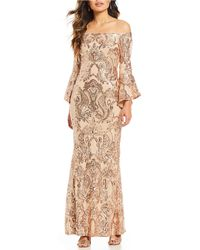 Betsy & Adam - Sequined Off-the-shoulder Flutter Sleeve Sequined Gown - Lyst