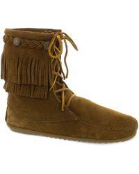Minnetonka Double Fringe Tramper Boots - Brown