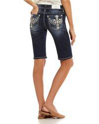 Miss Me Aztec Wing Pocket Bermuda Denim Shorts - Blue