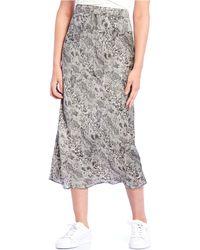 Free People - Normani Bias High Waist Snake Print Midi Skirt - Lyst