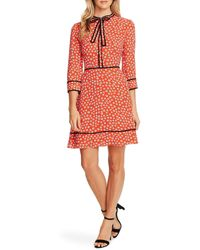 Cece Daisy Melody Tie Neck A-line Dress - Red