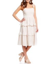 c11d5d027ad78 Molly Eyelet Tiered Ruffle Midi Dress - Pink