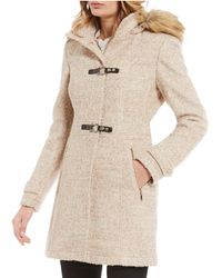 Ivanka Trump - Faux Fur Hooded Boucle Wool Coat - Lyst