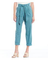 Chelsea & Violet Paperbag Waist Linen Pant - Blue