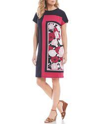 Jones New York - Floral Colorblock Shift Dress - Lyst