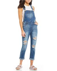Celebrity Pink - Destructed Rolled Cuff Overalls - Lyst