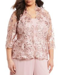 Alex Evenings - Plus Size 3/4 Sleeve Embroidered Twinset Top - Lyst