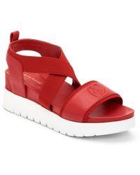 c5935b47c095 Taryn Rose - Stephanie Leather Wedge Sandals - Lyst