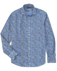 Thomas Dean Allover Print Long-sleeve Woven Shirt - Blue