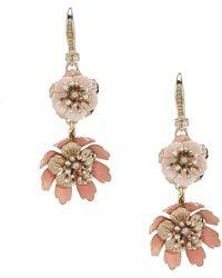Marchesa Gold/pink Double Drop Earrings