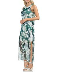 Vince Camuto - Tropical Jungle Palm Print Chiffon Overlay Maxi Dress - Lyst