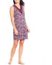 Sesoire Luxe Knit Paisley Print Chemise - Purple