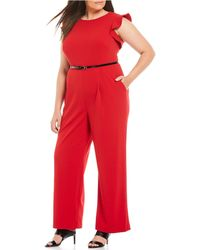 Calvin Klein Plus Size Belted Ruffled Jumpsuit - Red