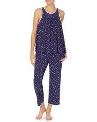 Kate Spade Sleeveless Long Pajama Set - Blue