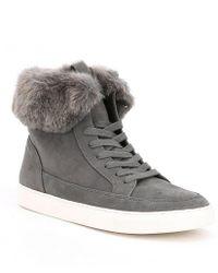 Gianni Bini Lainden Faux Fur Trim Sneakers - Gray