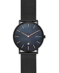 Skagen Hagen Mother-of-pearl Black Steel-mesh Watch