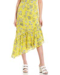 Gianni Bini Marina Asymmetrical Ruffle Hem Floral Print Midi Skirt - Yellow