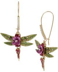 Betsey Johnson Dragonfly Long Drop Earrings - Multicolor