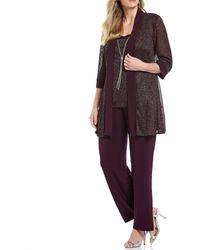 R & M Richards R M Richards Plus Size Metallic Ribbed Knit Mock 2-piece Pant Set - Purple