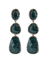 Panacea Teal Luxe Stone Drop Statement Earrings - Green