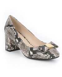 Cole Haan - Tali Snake Embossed Bow Detail Pumps - Lyst