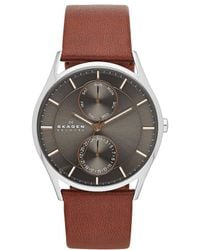 Skagen - Men's 3-hand Multifunction Leather Watch - Lyst