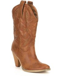 Volatile - Nightbbloom Embroidered And Studded Western Block Heel Boots - Lyst