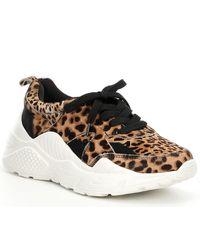 Gianni Bini Troye Leopard Haircalf Chunky Sneakers - Natural