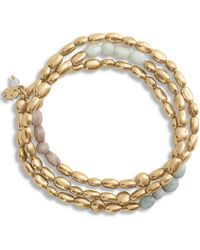 Lucky Brand Gold Beaded Layered Bracelets - Metallic