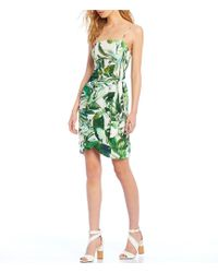 Gianni Bini - Lauren Square Neck Palm Leaves Print Tie Side Dress - Lyst