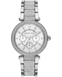 Michael Kors - Parker Multifunction Stainless Steel Glitz Watch - Lyst