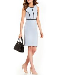 f900fbb0a6 Kasper - Petite Size Crepe Contrast Pipping Sleeveless Sheath Dress - Lyst