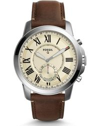 Fossil - Q Grant Leather-strap Beige Dial Hybrid Smartwatch - Lyst