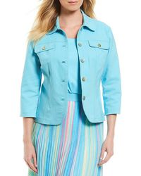 Ruby Rd. - 3/4 Sleeve Button Front Double Face Stretch Solid Jacket - Lyst