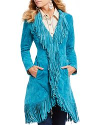 Scully - Fringe Suede Long Jacket - Lyst