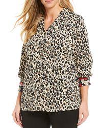 Foxcroft - Plus Size Lucca Leopard Print Button Front Wrinkle-free Cotton Shirt - Lyst