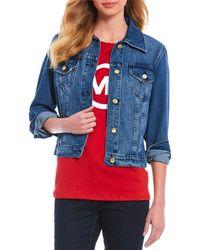 Michael Kors Michael Basic Button Front Denim Jacket - Blue