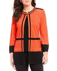 Ming Wang - Jewel Neck Texture Block Jacket - Lyst