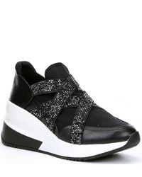 Gianni Bini Glendaa Rhinestone Embellished Chunky Slip-on Sneakers - Black