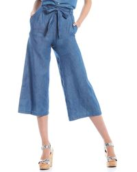 Chelsea & Violet Paperbag Waist Cropped Cotton Blend Wide Pant - Blue