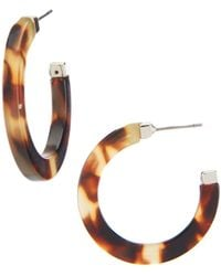 Lauren by Ralph Lauren - Tortoise Medium Hoop Earrings - Lyst