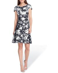 Tahari - Cowl Neck Fit And Flare Dress - Lyst