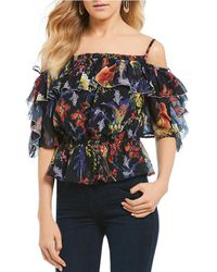 Guess - Birds Of Paradise Cold Shoulder Top - Lyst