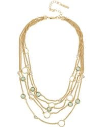 Kenneth Cole - Teal Shell & Crystal Circle Illusion Necklace - Lyst