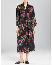 N By Natori - Eden Floral Satin Short Wrap Robe - Lyst