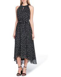Tahari - Polka Dot Chiffon Midi Dress - Lyst