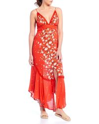 Free People Paradise Floral-print Maxi Dress - Red
