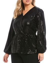 MICHAEL Michael Kors Plus Size Mirror Dot Textured Allover Sequin Surplice V-neck Long Sleeve Peplum Hem Top - Black
